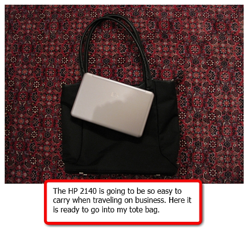 HP 2140 with tote bag