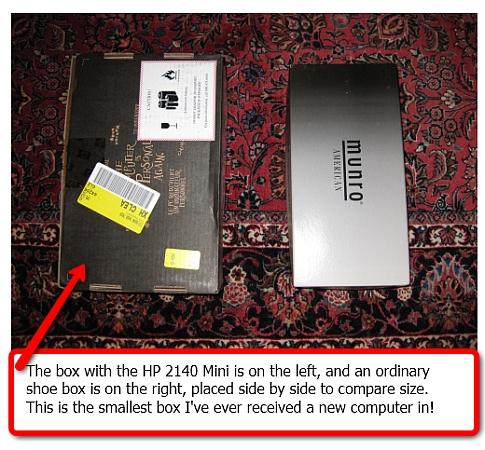 HP 2140 Mini in the box