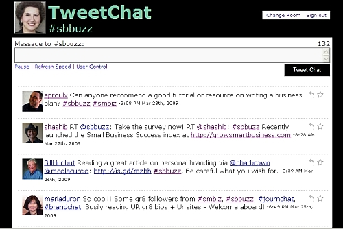 View of Tweetchat.com screen showing only tweets related to #sbbuzz
