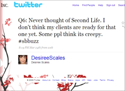 Tweetchat response using hashtag #sbbuzz