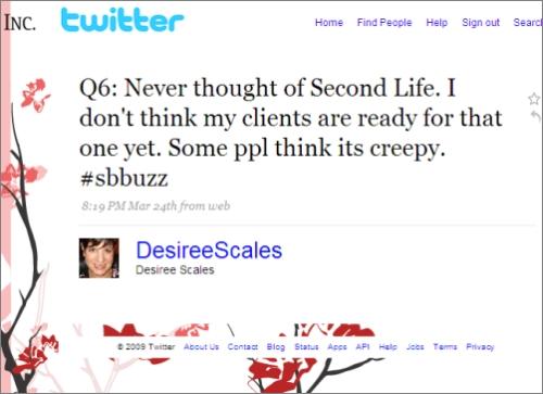 Tweetchat response using hashtag #sbbuzz