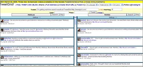 View of Tweet Grid screen showing 2 tweetchats simultaneously