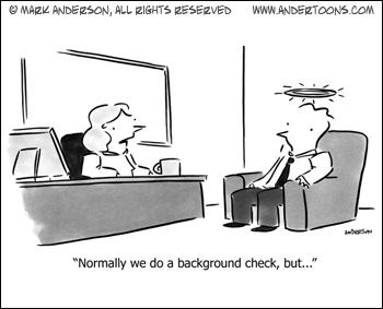 Background check business cartoon