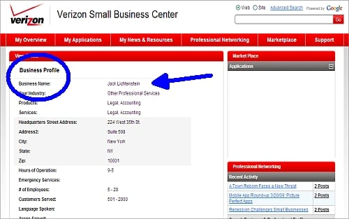 Verizon Small Business Center Networking