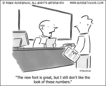 Changing font numbers cartoon