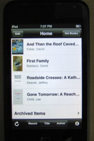 Book List on Kindle for iPhone app