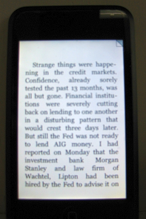 Page on the Kindle reader app for iPhone