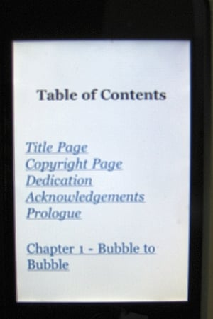 Table of contents on the Kindle reader app for iPhone
