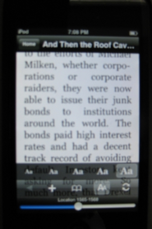 Changing the font size on the Kindle reader app for iPhone