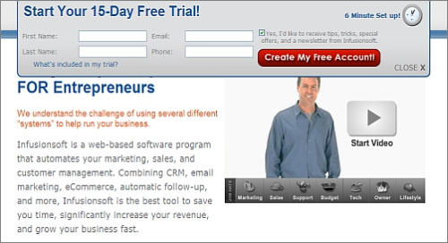 Infusionsoft free trial, 6-minute setup