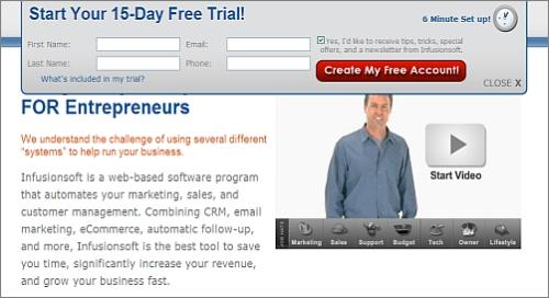 Infusionsoft free trial, 6-minute setup