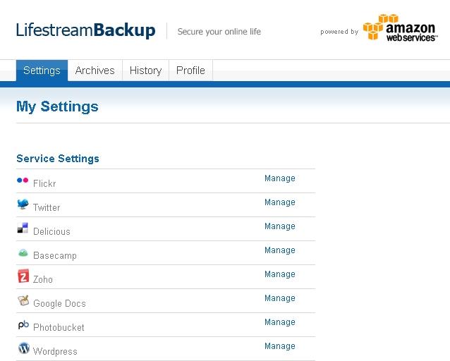 Lifestream Backup Settings