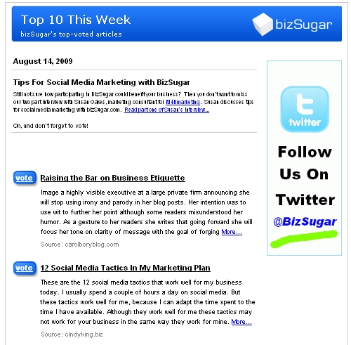 BizSugar newsletter - tips for buying a website