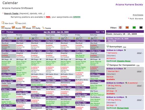 Online Scheduling Week View Screenshot by Shiftboard