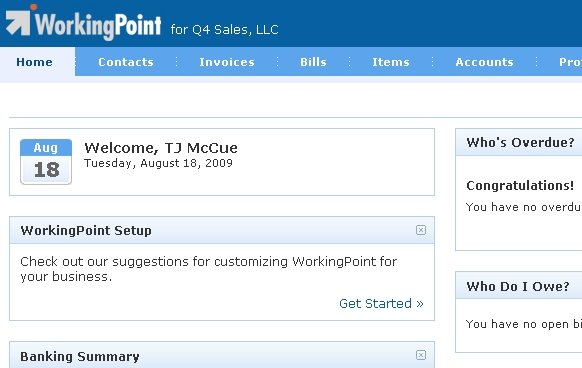 WorkingPoint First Page Screenshot