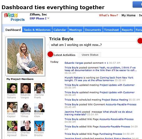 Zoho Project dashboard