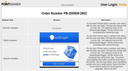 PointBanner control panel for revision process
