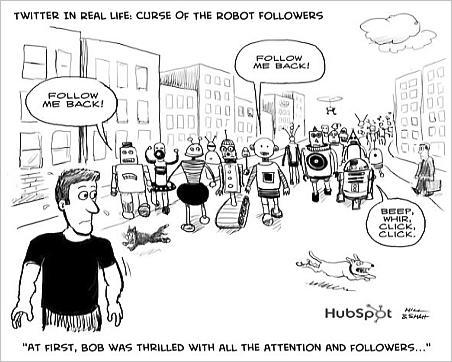 Twitter bot cartoon - inbound marketing
