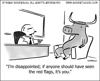 Small Business Cartoon: Office Red Flag Warnings