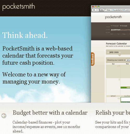 pocketsmith main page