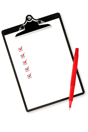 Clipboard with Checklist and Red Pen