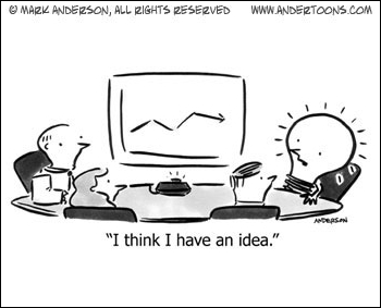 Small Business Cartoon: Ideas Lighting Up