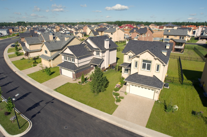 Suburban houses. High angle view.