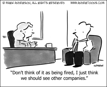 business cartoon about being fired