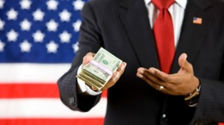 president handing money