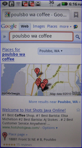Droid X Local Search Result