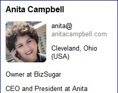 Anita's profile as seen in Rapportive sidebar