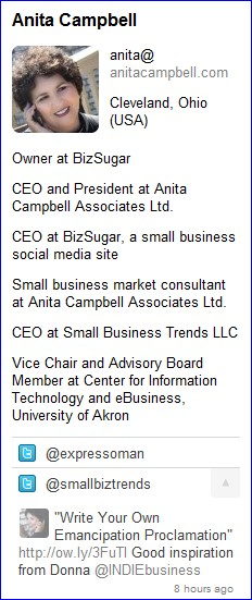 Anita's profile as seen in Rapportive sidebar