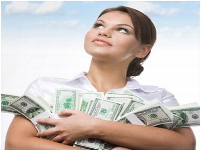 woman guarding money