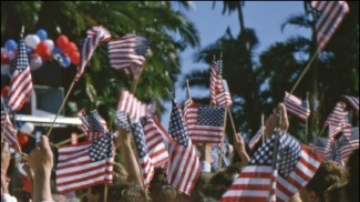 waving u.s. flag