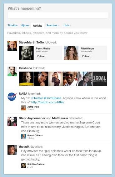 Twitter's Activity Tab