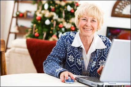 senior holiday shopper