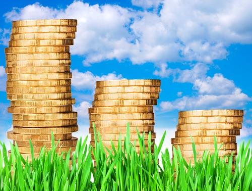 gold coins grass