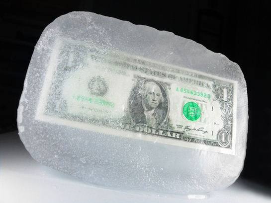 frozen dollar bill