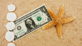 dollar on beach