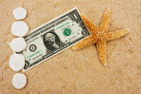 dollar on beach