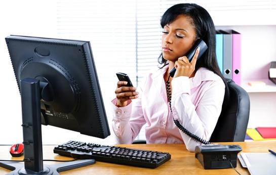 employee updating social media