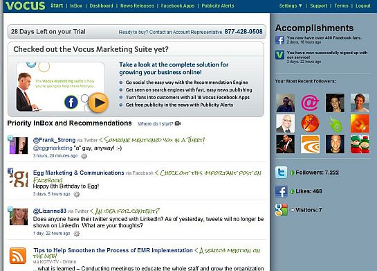 Vocus social media module recommends activity