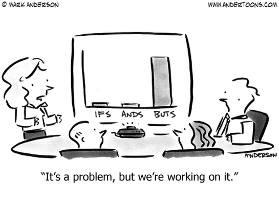 ifs and or buts business sales cartoon