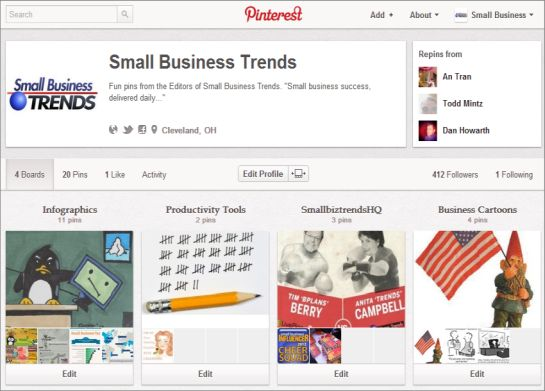 Pinterest page for Small Business Trends