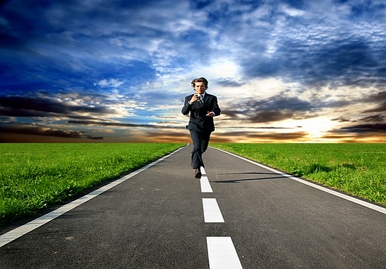 businessman running away