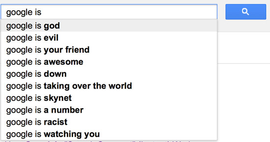Your name Google Search Suggest results