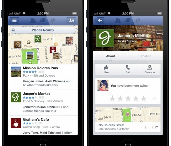 Facebook Location Based Business Recommendations