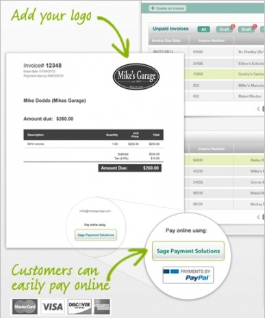 electronic payment invoice Sage One