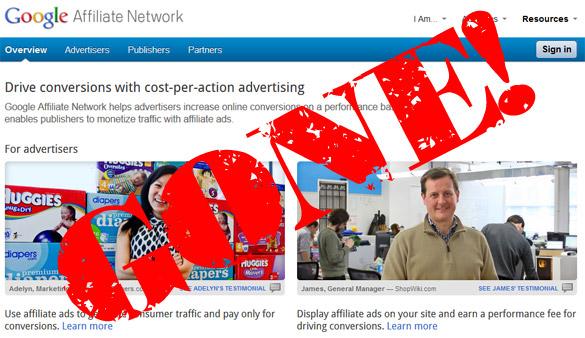 Google Affiliate Network shutting down