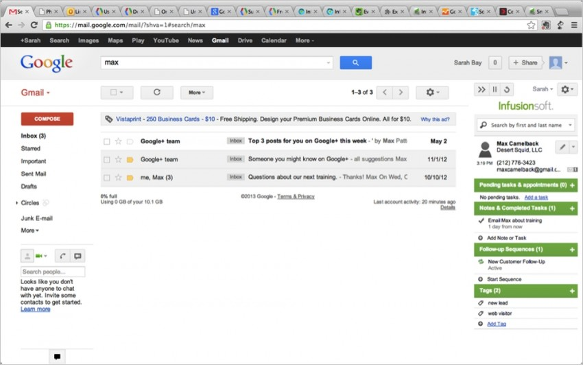 infusionsoft gmail